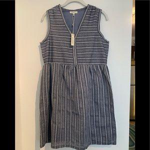 New! Max Studio S cotton dress $118 navy print